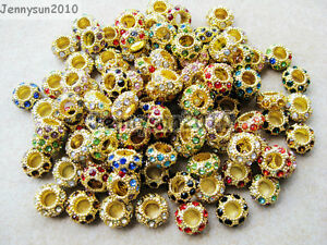 Big-Hole-Crystal-Rhinestones-Pave-Gold-Rondelle-Spacer-Beads-Fit-European-Charm