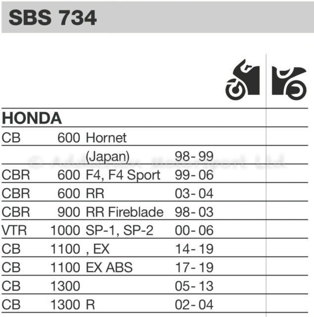 Honda CBR 600 RR 2003 2004 SBS Dual Carbon Front Brake Pads 734DC