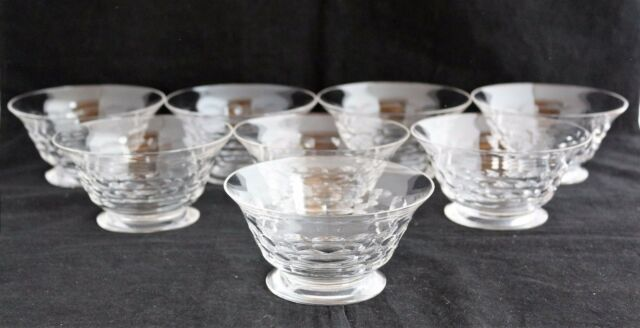 Set of 8 Josair Crystal Cut Glass Dessert Finger Bowls honeycomb pattern