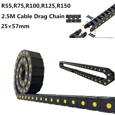 Plastic Drag Chain Cable Carrier Closed Type with End Connectors R100 25 x 57mm L1000mm for Electrical CNC Router Machines