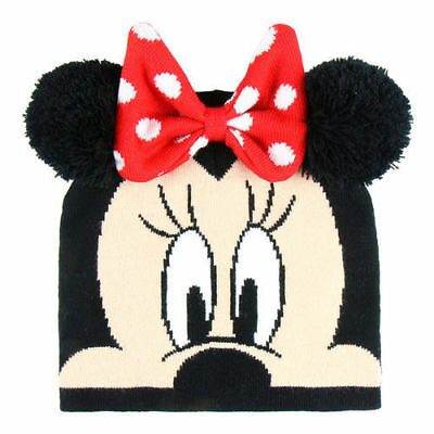 Girls Kids Official Minnie Mouse Grey Winter Bobble Hat One Size 4-8 Years