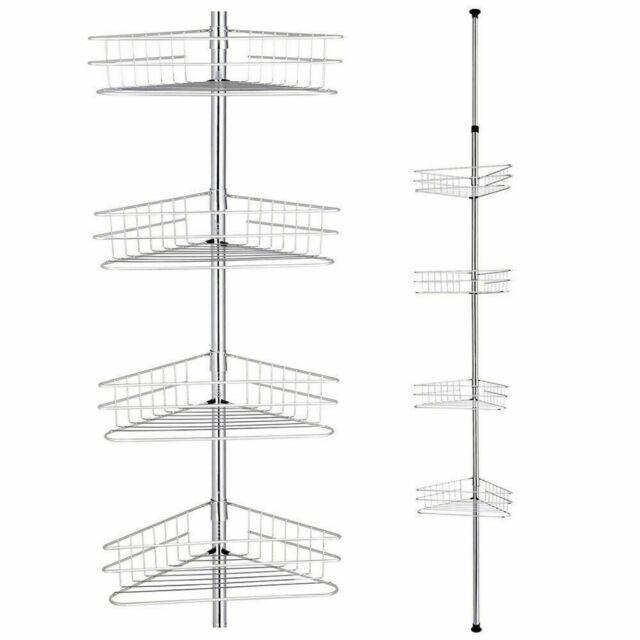 4 Tier Metal Corner Pole Caddy Shelf Rack Bathroom Bath Storage Organizer