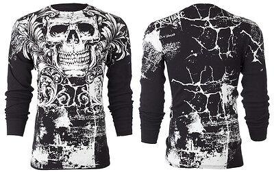 Archaic AFFLICTION Mens THERMAL T-Shirt KILLROY Skull Tattoo Biker UFC M-3XL $58