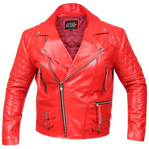 pelle vera uomo da moto Vintage Brando in le da misure da classica Giacca motociclista tutte wSIqZP
