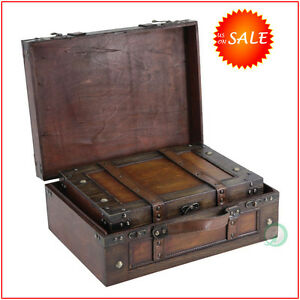 Image Is Loading Wooden Vintage Suitcase Chest Storage Box Trunk Train