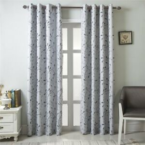 Gyrohome Floral Blackout Curtain Grommet Top Thermal Insulated Room