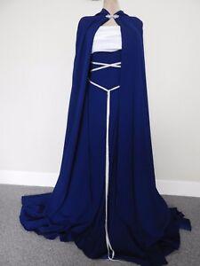 efe5829076daa PAGAN HAND FASTING WEDDING DRESS & CAPE BLUE & WHITE CUSTOM MADE ...