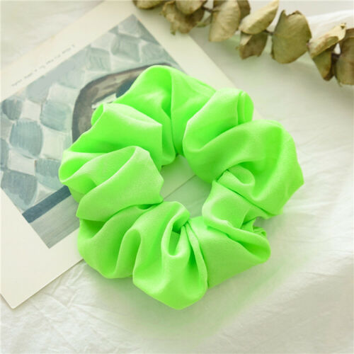 Fluorescent Color Scrunchies Elastic Hair Tie Ponytail Bright Hair Accessories #