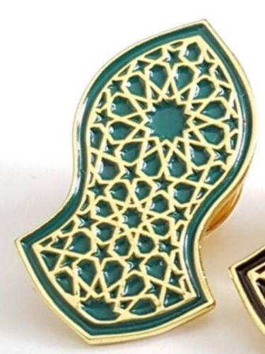 Nalayn Pin Badge Green /& Gold Islamic Art Gift Geometric Design Nalain Sandal