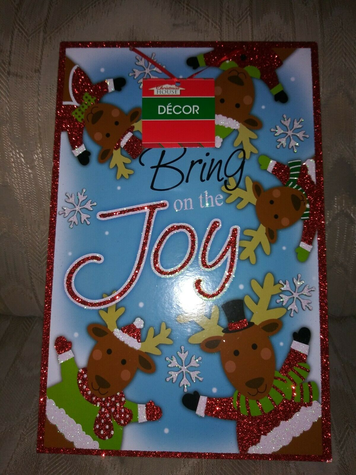Christmas Home Decor Bring On The Joy Wall Art Sign Xmas Reindeer Snowflakes For Sale Online