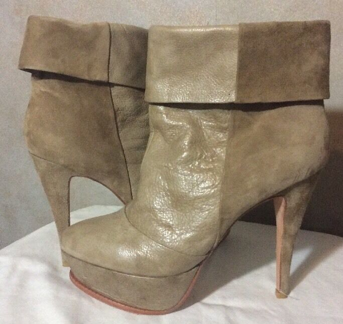 DOLCE VITA WOMENS PUMPS BOOTS LEATHER SUEDE HEEL TAN WOMENS 9.5 JL
