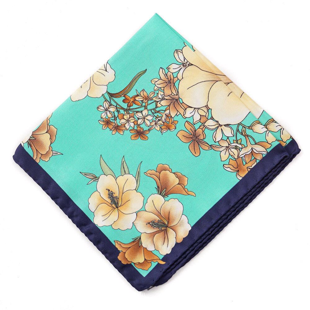 New BATTISTI NAPOLI Turquoise Green Floral Print Silk Pocket Square