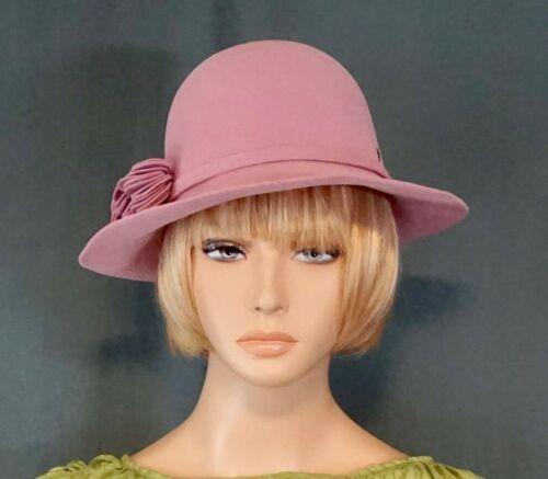 Helen Kaminski 100% Rabbit Fur Felt Hat Dusty Rose