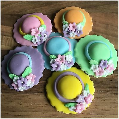 6 Edible Easter Bonnets Pastel Sugar Cake Decorations Cupcake Toppers  Flowers