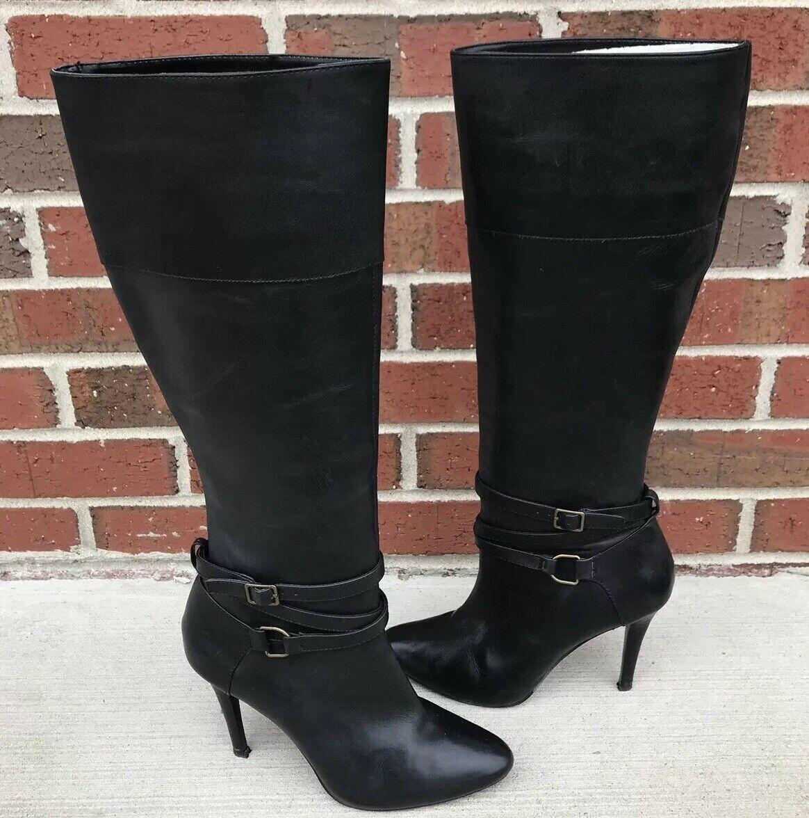Mujer Ralph Lauren botas B Kyla Cuero Negro
