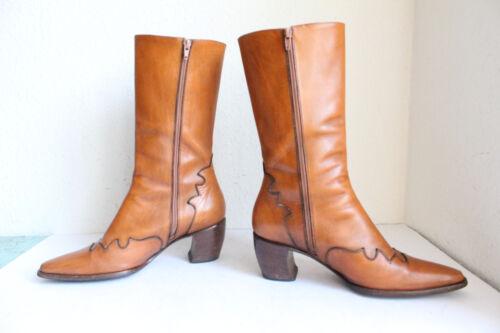 Echtleder Boots Collegienne 39 Stiefel Elegante High La italy 5 Voll Eu Braun O7HYU