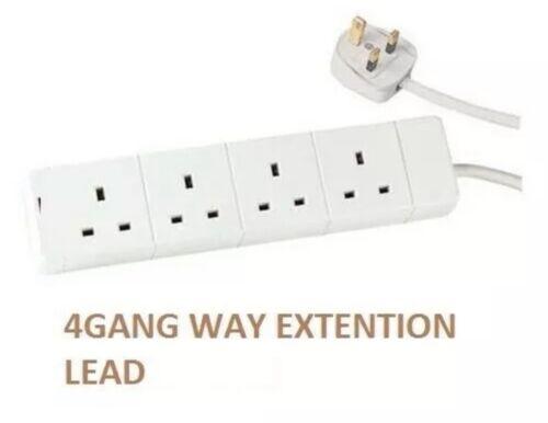 4 Way 4 Gang extension lead complément de plomb 2 m 4 douilles 13AMP Plug par Power Plus
