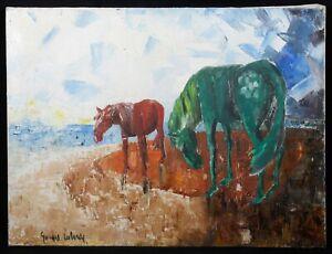 Georges-Laborde-Xxe-Cavallo-Verde-in-Bordo-di-Mare-1970-Astratto-Marina