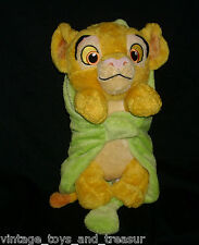 """12"""" DISNEY BABY SIMBA IN LEAF BLANKET NOISE JUST PLAY STUFFED ANIMAL PLUSH TOY"""