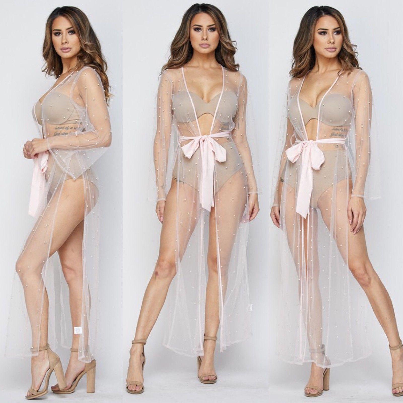 Sexy Women's Long Mesh Bikini Swimwear Cover Up Duster Pink S, M , L