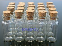 20 Pcs 2ml Clear Glass Bottles Cork Empty Vials Wholesale 1 1/4 X 1/2 K9