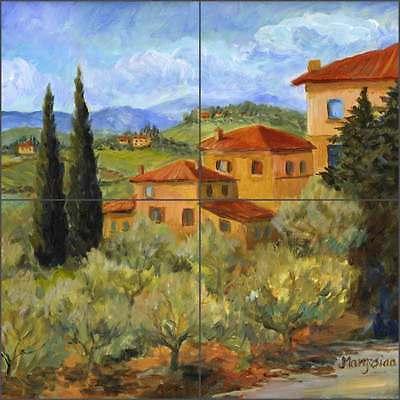 Tile Mural Backsplash Ceramic Margosian Tuscan Villa Poppy Landscape Art JM081