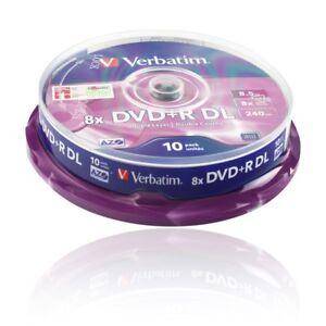 VERBATIM-ROHLINGE-DVD-R-DL-8-5-GB-10er-CAKEBOX-SPINDEL-Nr-43666-8-x-SPEED