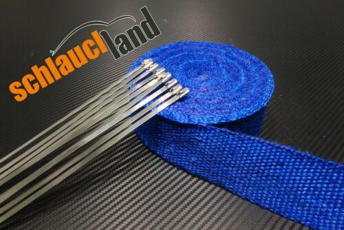 5m Fiberglas Hitzeschutzband 50mm blau 800°C 10 Kabelbinder***Heat Wrap Turbo