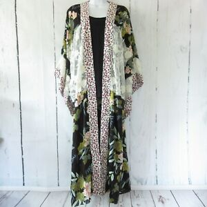 New-Gigio-By-Umgee-Duster-Kimono-L-Large-Black-Floral-Lace-Boho-Peasant