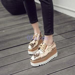 Korean-Women-039-s-Square-Toe-High-Wedge-Heel-Platform-Lace-Up-Creepers-Casual-Shoes