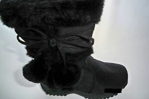 Team-Honey-10-Girl-Faux-Wedge-Mid-Calf-Black-Leather-Winter-Boots-Toddler-Size-3