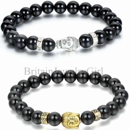environ 22.61 cm 8.9 in Lucky Men BEAD 8 MM Noir imitation agate pierre Tibet Bouddha Bracelet