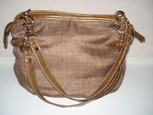 Details About New Directions Brown Silver Thread Woven Cloth Medium Tote Shoulder Bag