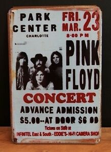pink floyd concert reproduction vintage style metal sign 30x20cm ebay. Black Bedroom Furniture Sets. Home Design Ideas