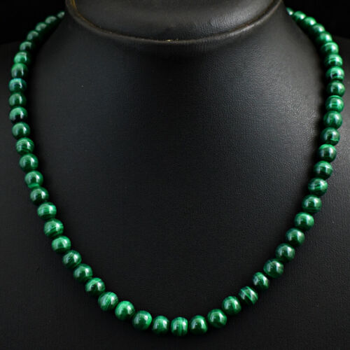 Details about  /Royal 254 Cts Earth Mined Green Malachite Round Shape Beaded Necklace JK 16E290