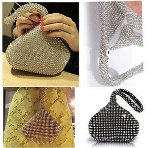 Rhinestones-Women-039-s-Evening-Clutch-Bag-Party-Wedding-Handbag-Purse-GA