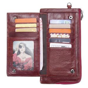 RFID-Women-Men-Genuine-Leather-Long-Utra-Thin-Wallet-Clutch-Money-Card-Holder