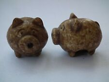 Cute Pair of Chocolate Brown Pig Beads (BD19)