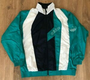 Details about Adidas rare vintage 90s green shiny nylon tracksuit track top jacket size XXL