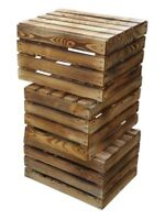 3 Obstkisten Aus Holz Geflammt (50x40x30cm) Weinkisten Stappelkisten Lagerkisten