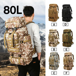 80L Military Tactical Backpack Rucksack Travel Hiking Trekking Luggage Big Bags