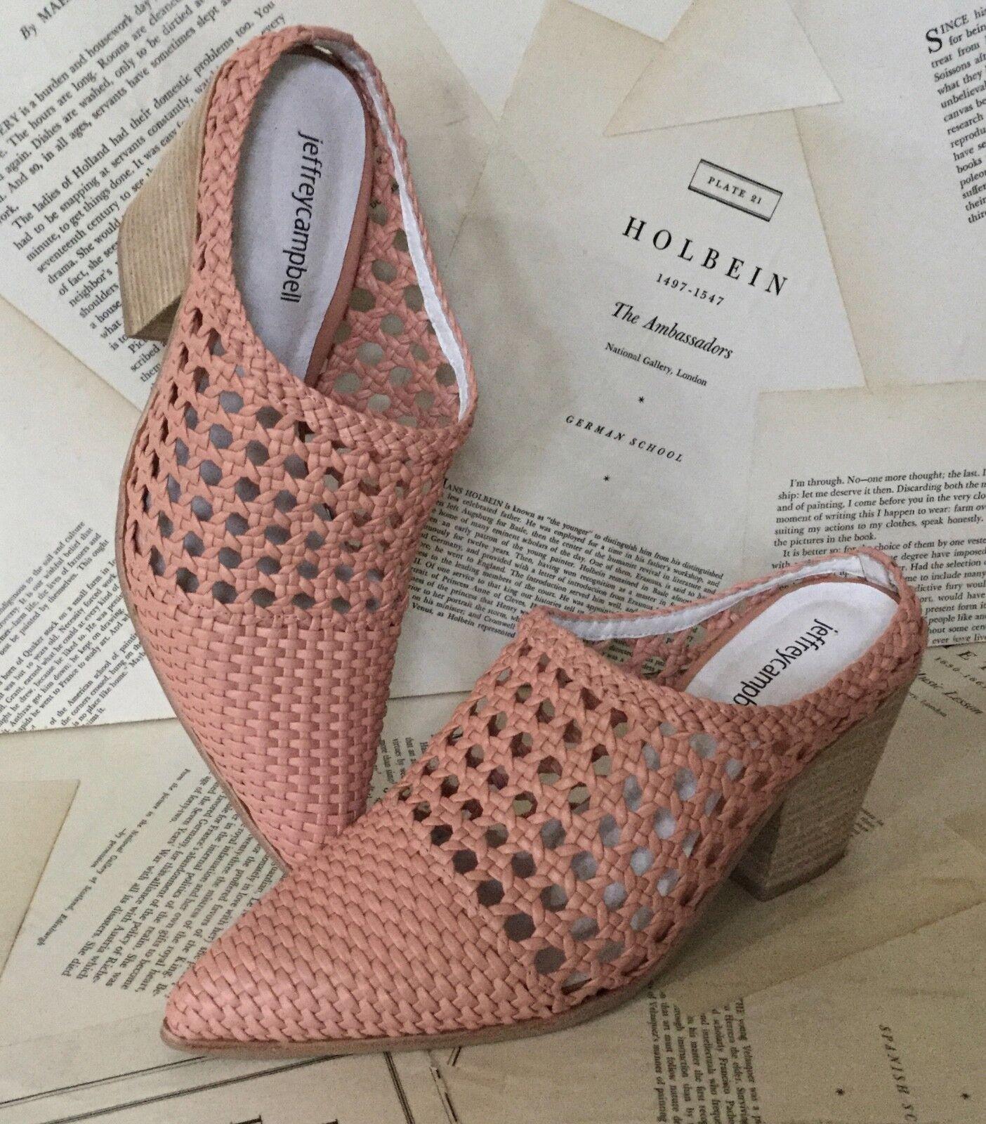NIB Anthropologie Jeffrey Campbell pink Leather Weaved Western Mule Bootie 10