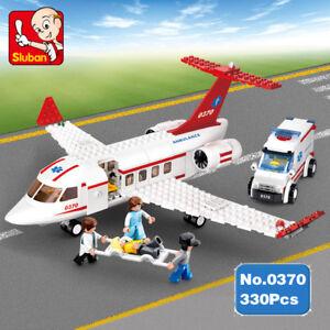 Toys-Sluban-B0370-rescue-aircraft-Ambulance-Vehicle-Aviation-kits-Blocks-Sets
