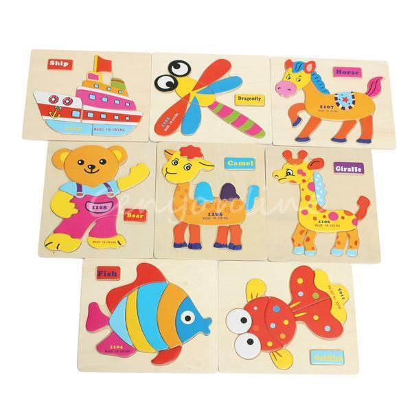 Various 8 Wooden Blocks Animal Kid Children Baby Educational Toy Puzzle Cartoon