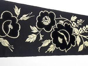 Orphreys-Frances-Vintage-Diseno-Terciopelo-Negro-Banda-para-Vestment-8-2m