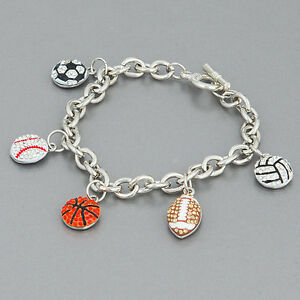 Image Is Loading Silver Chain Basketball Football Baseball Soccer Charms Stones