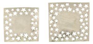 Deko-Teller-Tablett-Schale-Platte-silber-Aluminium-Guss-Sterne