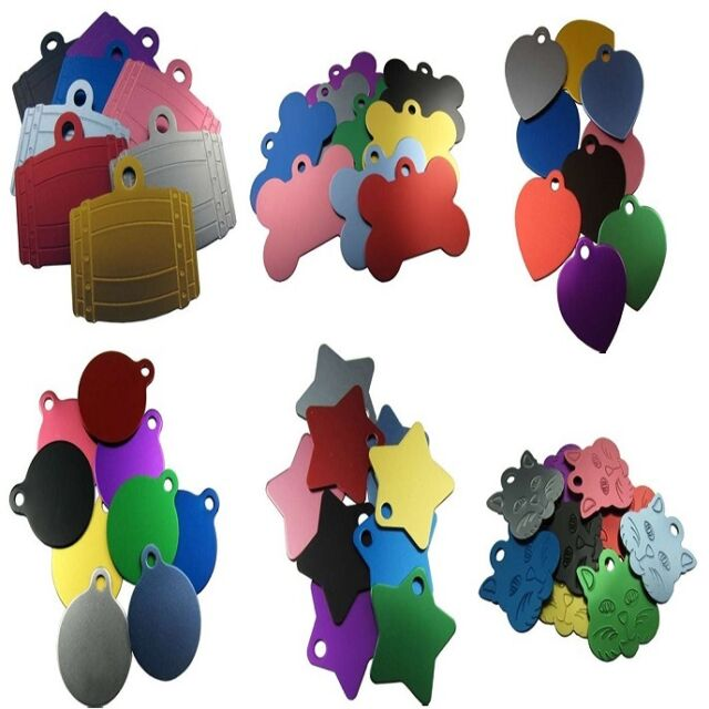 Engraved Pet ID Tags Assorted Anodised Aluminium Designs Discs Dogs Cats Disks