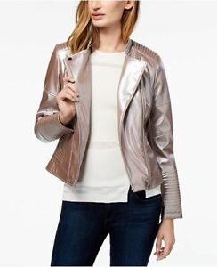 Bar-III-Jacket-Faux-Leather-Metallic-Rose-Pink-Sz-L-NEW-NWT-218