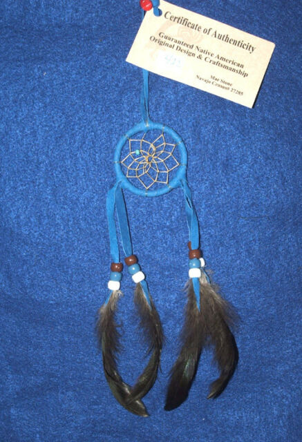 "Native American Dreamcatcher  Indian Navajo 2"" dia hoop Royal Blue  #422"